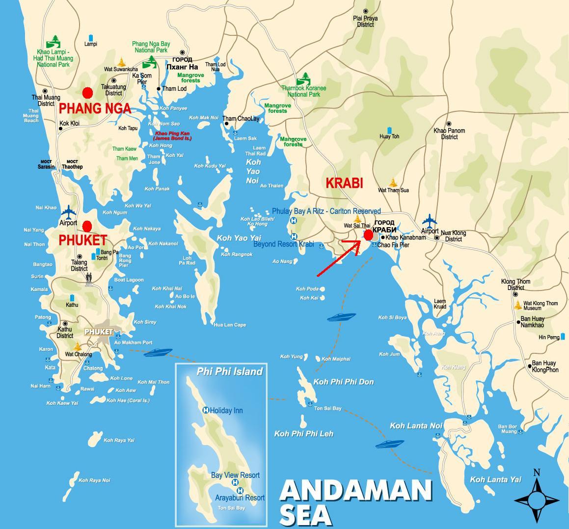 detailed map of krabi thailand - HD1159×1154
