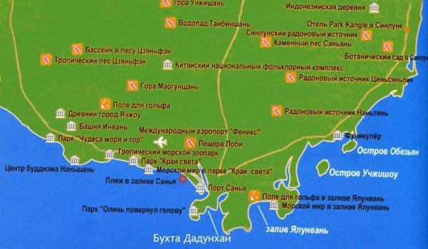 Туристическая карта Саньи и окрестностей