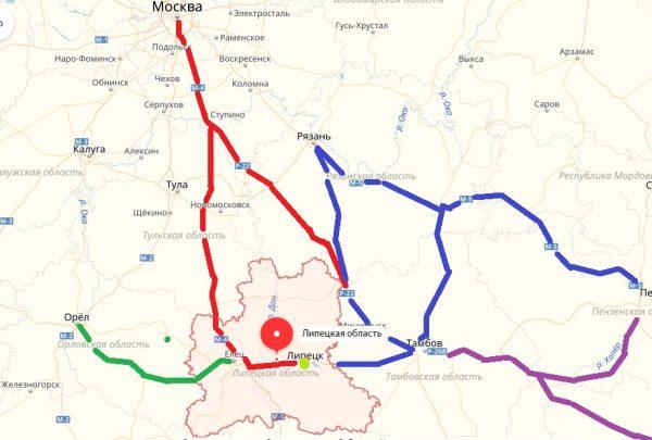Карта проезда к Липецку