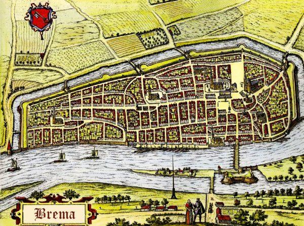 Территория Бремена в XV веке на старой карте
