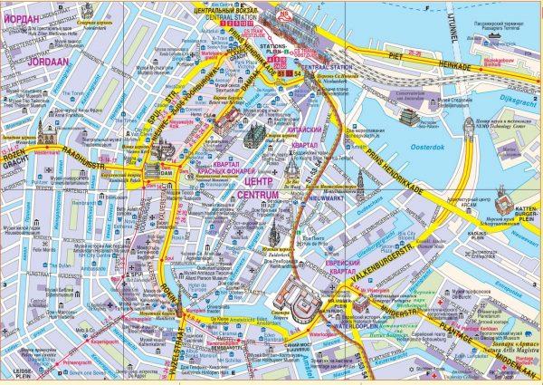 Карта Амстердама с обозначением основных достопримечательностей