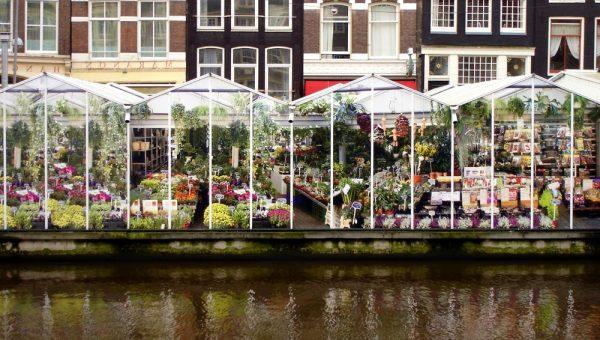 Цветочные павильоны, расположенные на баржах вдоль канала