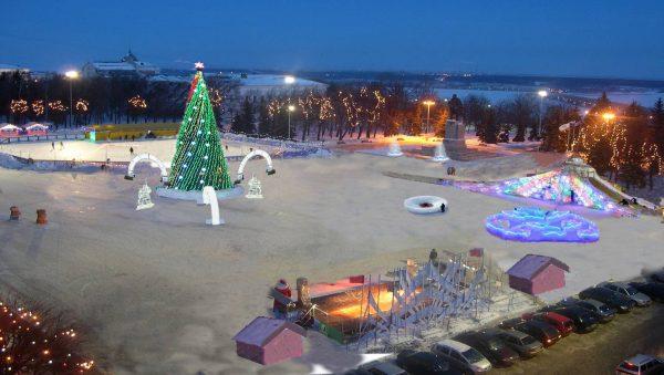 Площадь Ленина в новогодние праздники