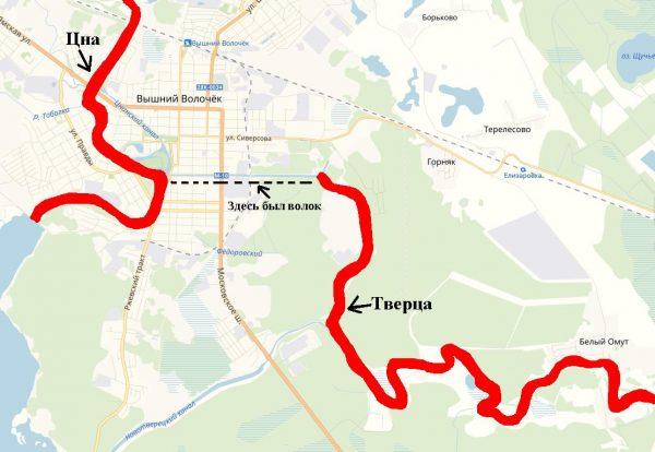 Карта места «перетаскивания» судов возле Вышнего Волочка