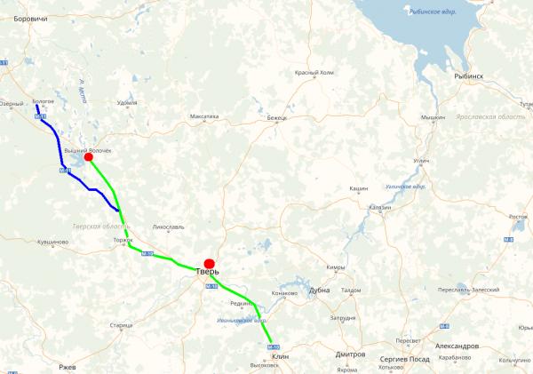 Карта проезда в Вышний Волочёк