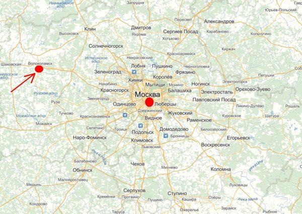 Волоколамск на карте Московской области