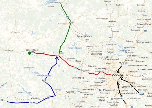 Схема проезда к Волоколамску
