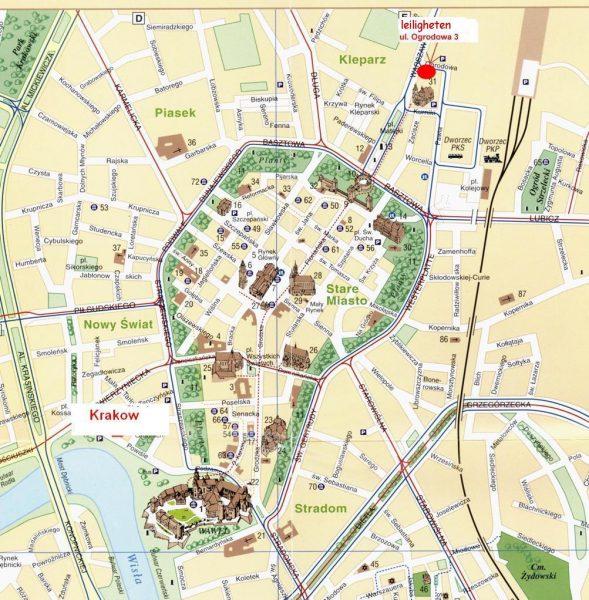 Туристическая карта Кракова