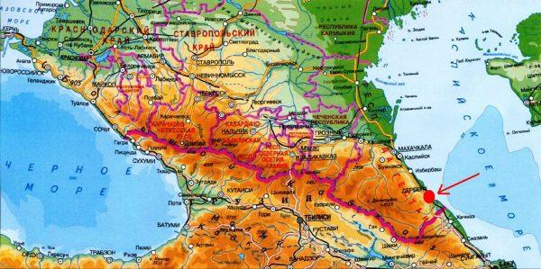 Дербент на карте России