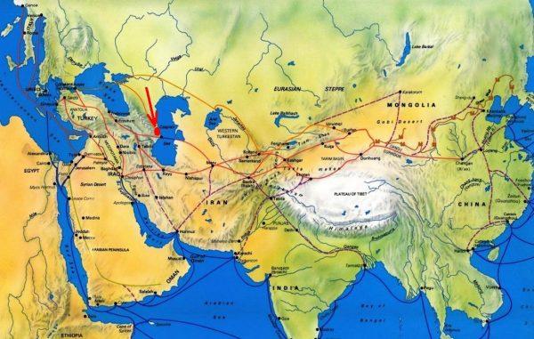 Карта Великого шёлкового пути