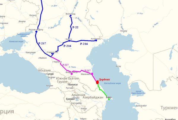 Схема проезда к Дербенту