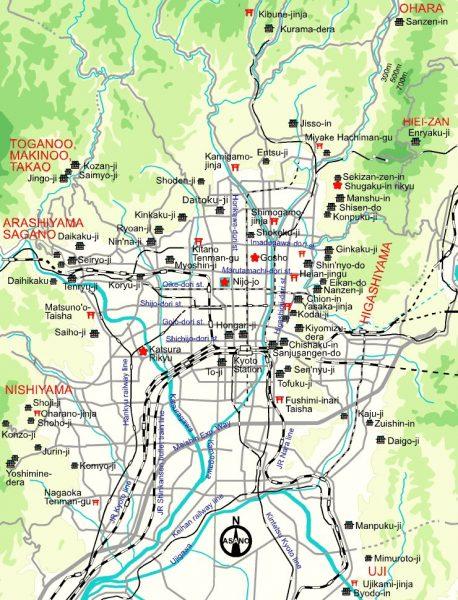 Карта Киото на английском языке