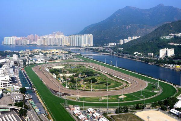 Вид на ипподром Ша Тин в Гонконге с высоты птичьего полёта