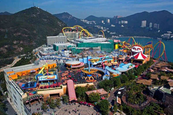 Вид сверху на Оушен парк в Гонконге