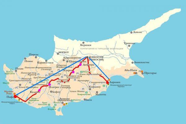 Схема проезда в Никосию