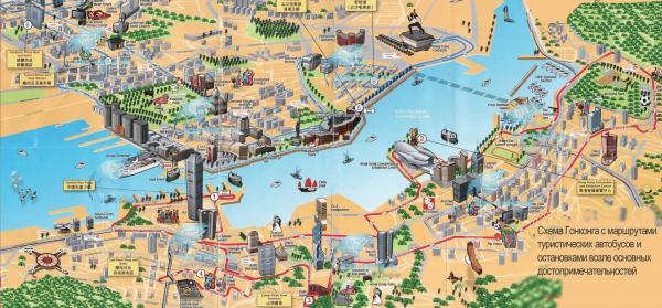 Туристическая карта Гонконга в формате 3D