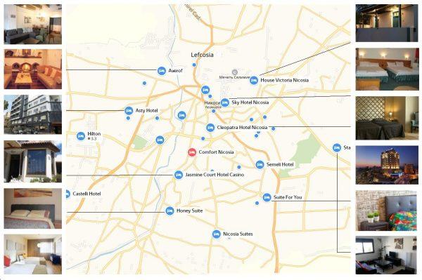 Отели и гостиницы на карте Никосии