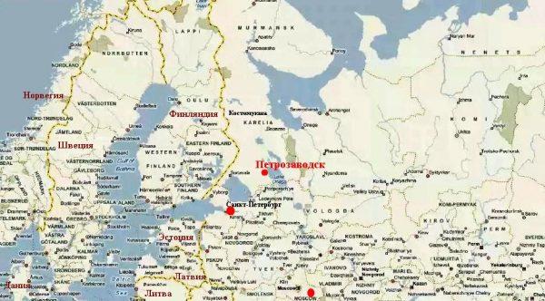 Петрозаводск на карте северо-западной части России
