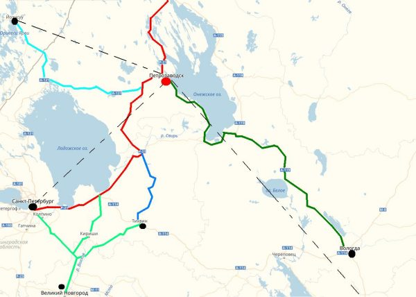 Карта проезда в Петрозаводск