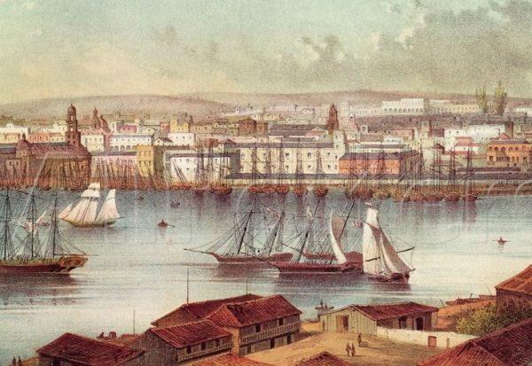 Гавана XIX века на старинной гравюре