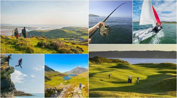 Коллаж из фотографий, изображающий активные виды отдыха в Уэльсе