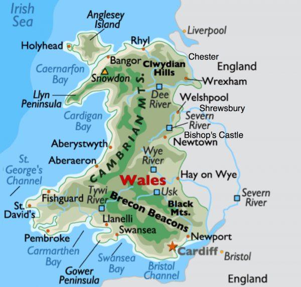 Карта Уэльса с туристическими городами