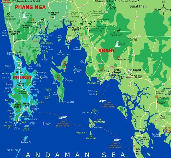 Остров Пхукет на карте Таиланда