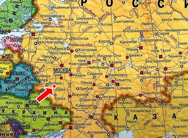 Орёл на карте России