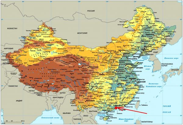Гуанчжоу на карте Китая