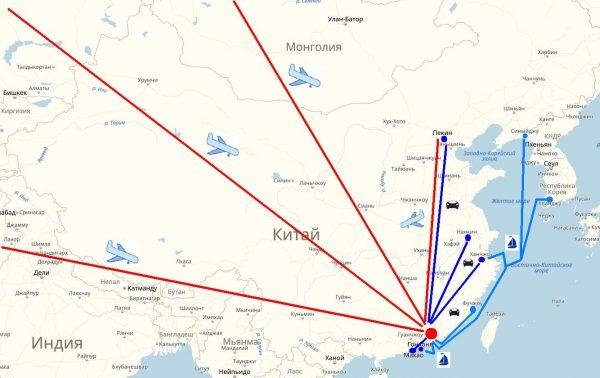 Схема проезда в Гуанчжоу