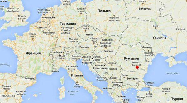 Бухарест на карте Европы