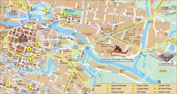 Карта Вроцлава на английском языке