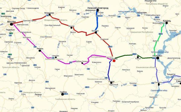Схема проезда к Саранску
