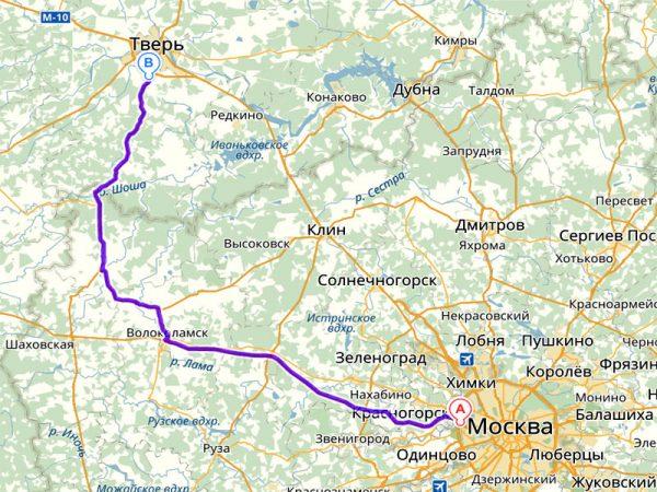 Карта автомобильных дорог Москва-Кимры