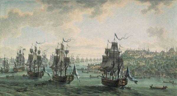 Картина художника конца XVIII века Иванова «Русская эскадра под командованием Ушакова»