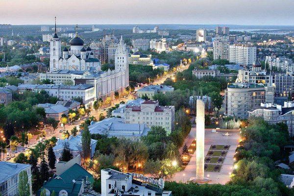 Вечерний Воронеж, вид сверху