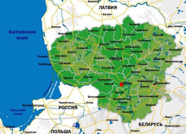 Каунас на карте Литвы