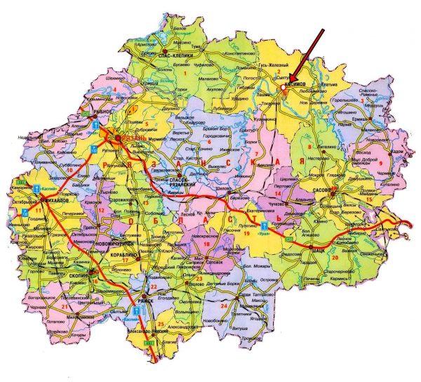 Город Касимов на карте Рязанской области