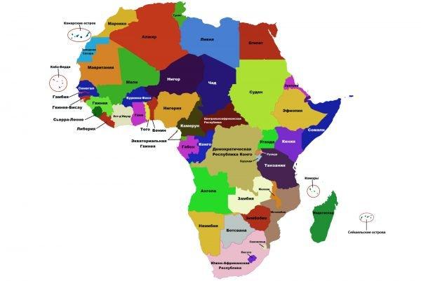 Карта Африки: страны и острова