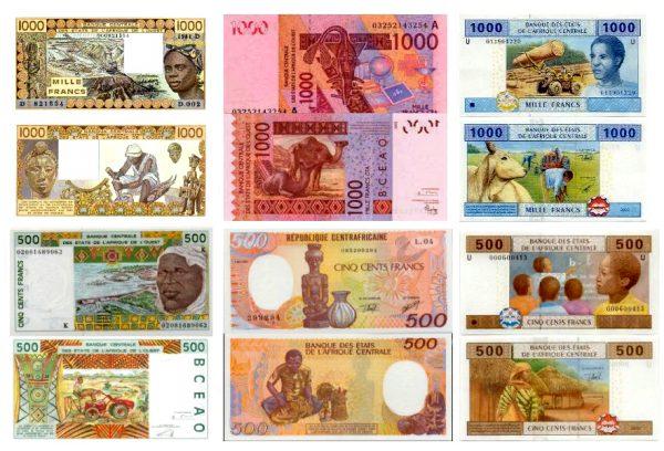 Банкноты африканского франка номиналом 1000 и 500 франков
