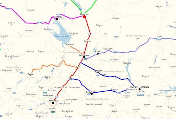 Схема проезда в Вологду