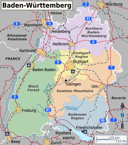 Расположение Баден-Бадена на карте