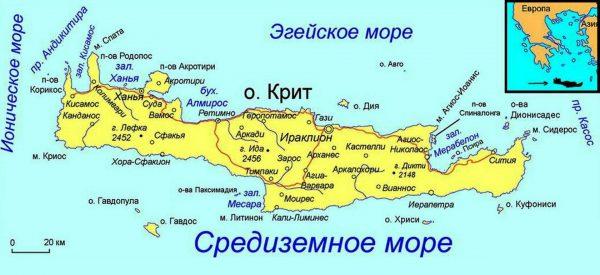 Ираклион на карте острова Крит