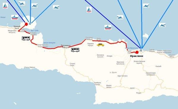 Схема проезда к Ираклиону