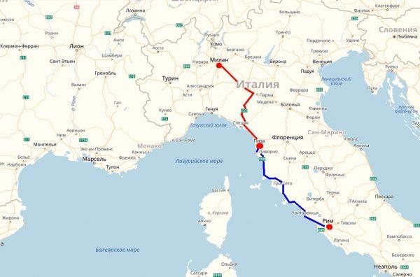 Схема проезда к Пизе