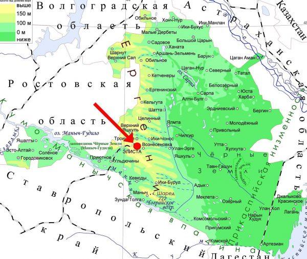 Элиста на карте Калмыкии