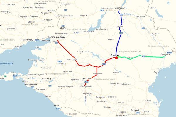 Схема проезда в Элисту