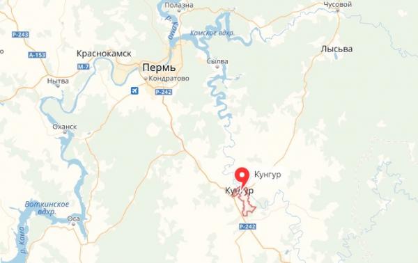 Кунгур на карте Пермского края