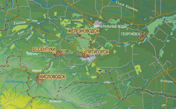 Железноводск на карте Кавказских Минеральных Вод
