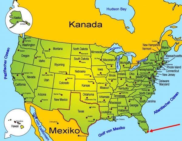 Майами на карте Соединённых Штатов Америки